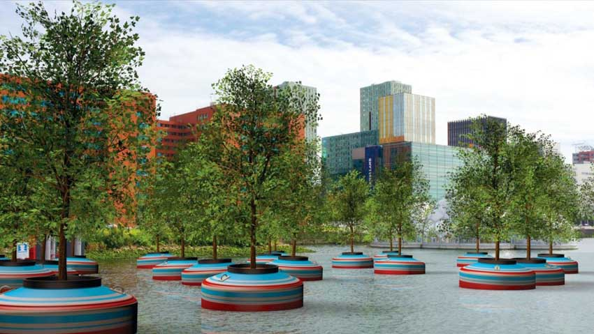 The floating forest, a revolutionary idea in the port of Rotterdam