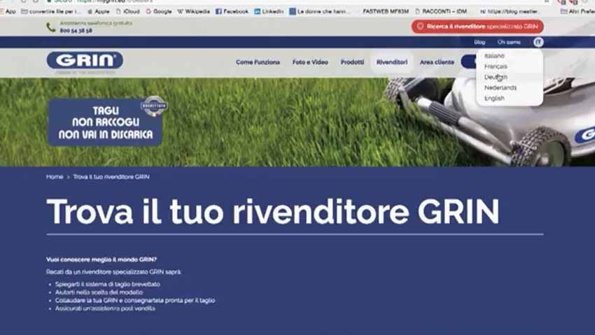 Grin lawnmower, presentation of the new site