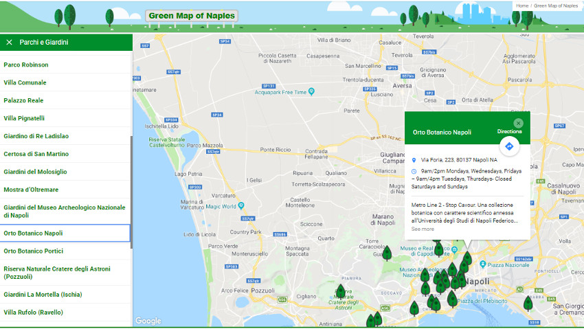Discovering the urban green with a free map