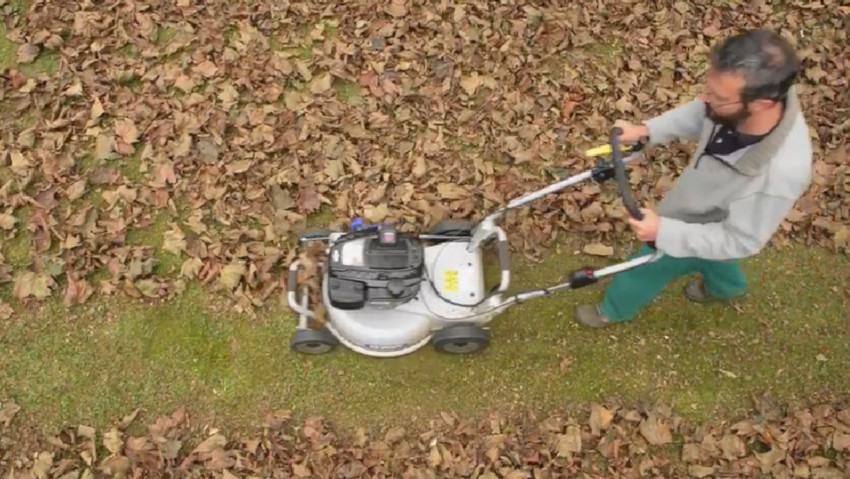 Test the Grin mower on the dry leaves
