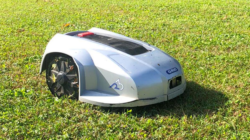 Grin presents his robotic lawnmower